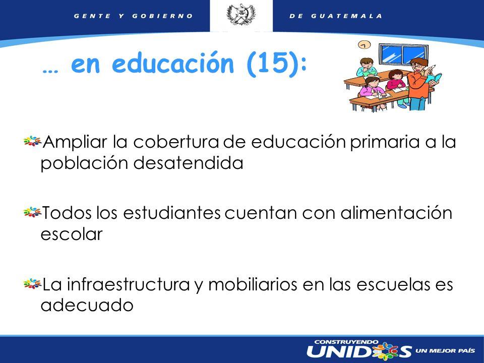 … en educación (15): Ampliar la cobertura de educación primaria a la población desatendida. Todos los estudiantes cuentan con alimentación escolar.
