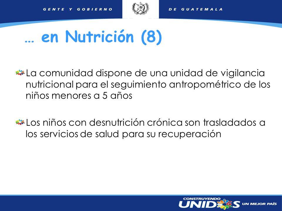 … en Nutrición (8) La comunidad dispone de una unidad de vigilancia nutricional para el seguimiento antropométrico de los niños menores a 5 años.