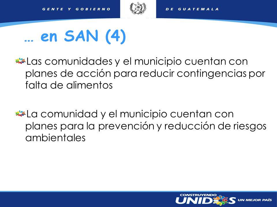 … en SAN (4) Las comunidades y el municipio cuentan con planes de acción para reducir contingencias por falta de alimentos.