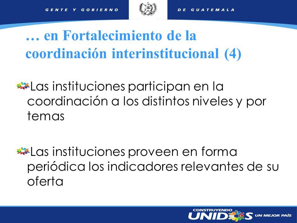 … en Fortalecimiento de la coordinación interinstitucional (4)