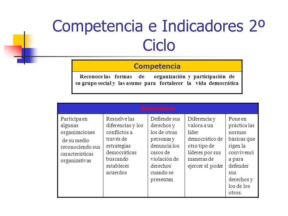 Competencia e Indicadores 2º Ciclo