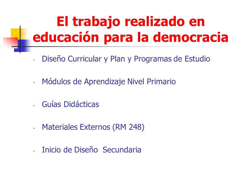 El trabajo realizado en educación para la democracia