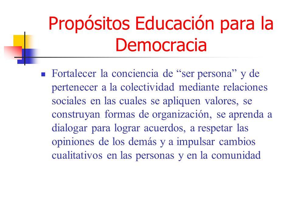Propósitos Educación para la Democracia