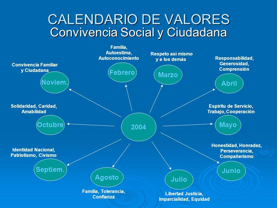 CALENDARIO DE VALORES Convivencia Social y Ciudadana Febrero Marzo