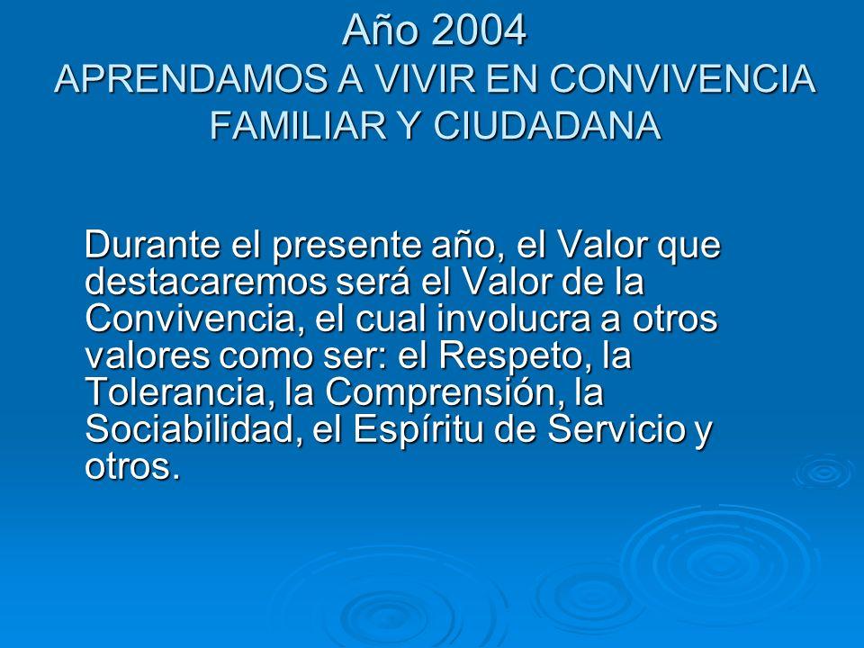 Año 2004 APRENDAMOS A VIVIR EN CONVIVENCIA FAMILIAR Y CIUDADANA