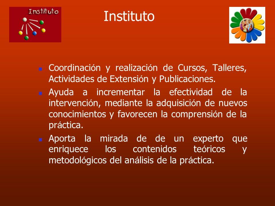 InstitutoCoordinación y realización de Cursos, Talleres, Actividades de Extensión y Publicaciones.