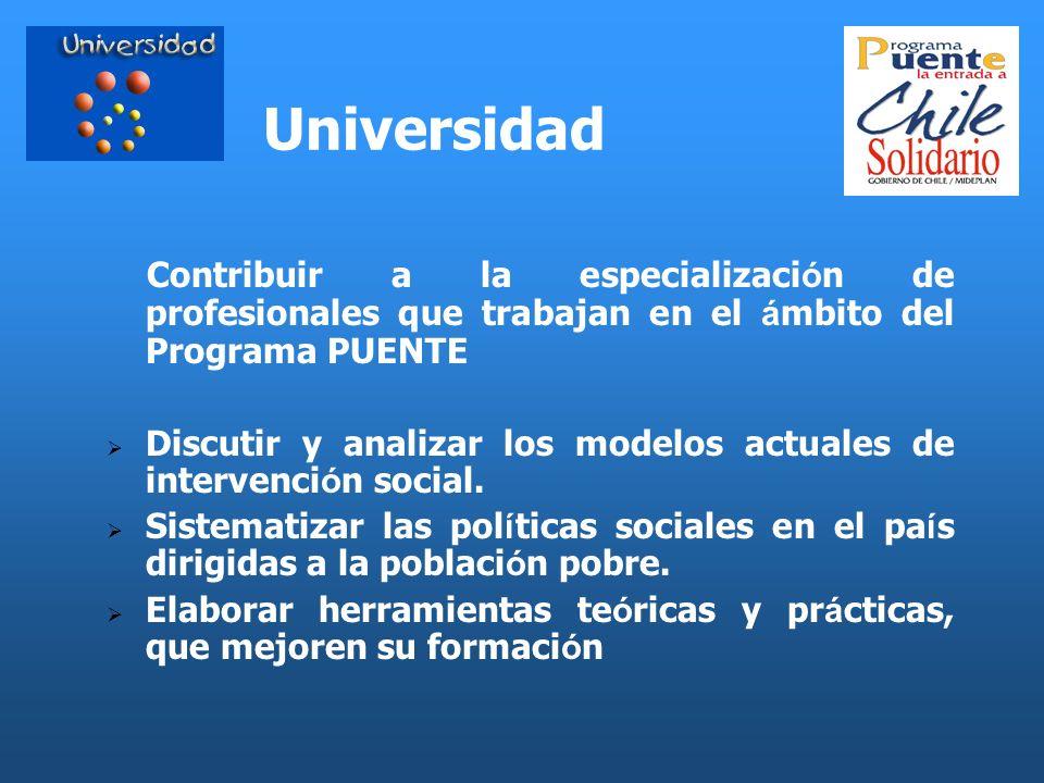 UniversidadContribuir a la especialización de profesionales que trabajan en el ámbito del Programa PUENTE.