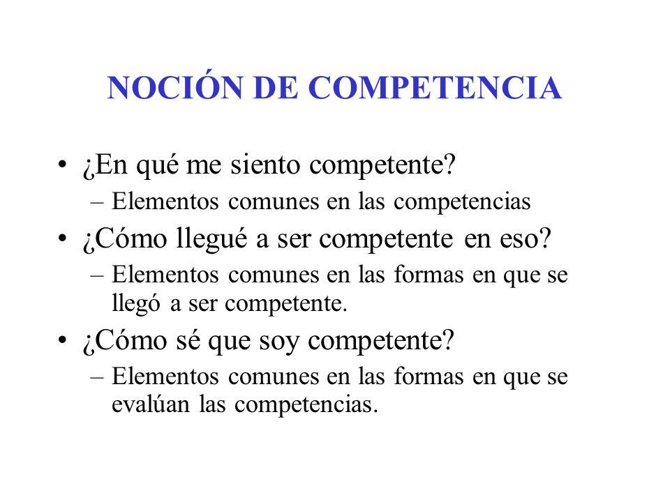 NOCIÓN DE COMPETENCIA ¿En qué me siento competente