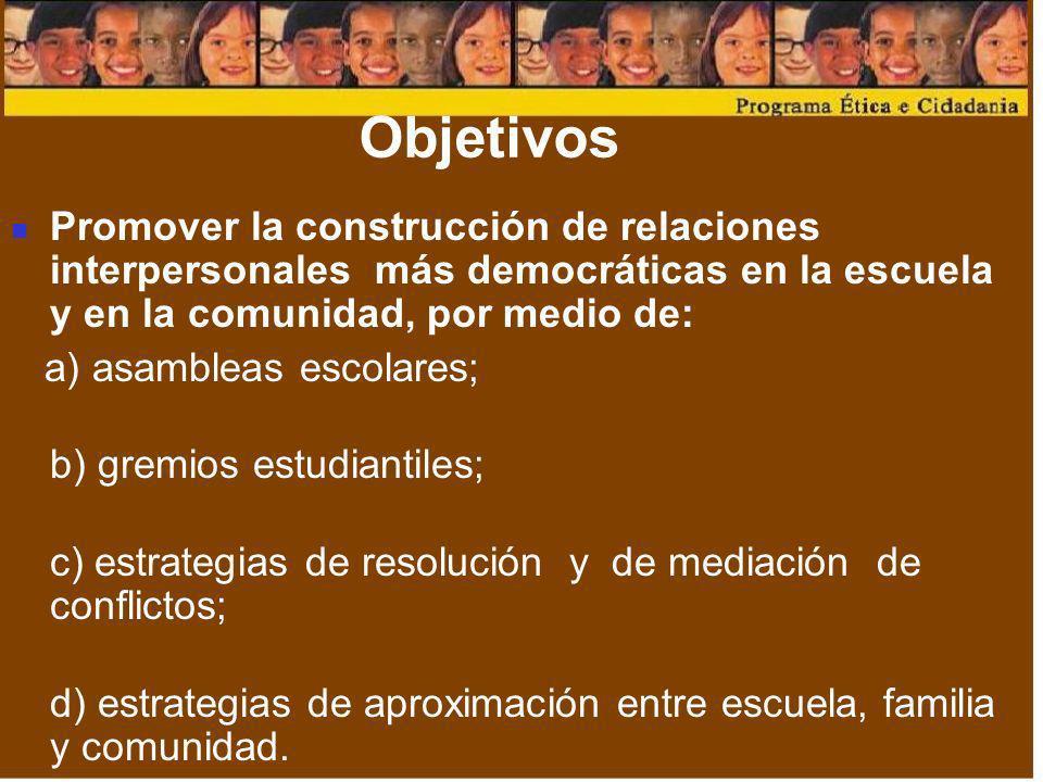 ObjetivosPromover la construcción de relaciones interpersonales más democráticas en la escuela y en la comunidad, por medio de: