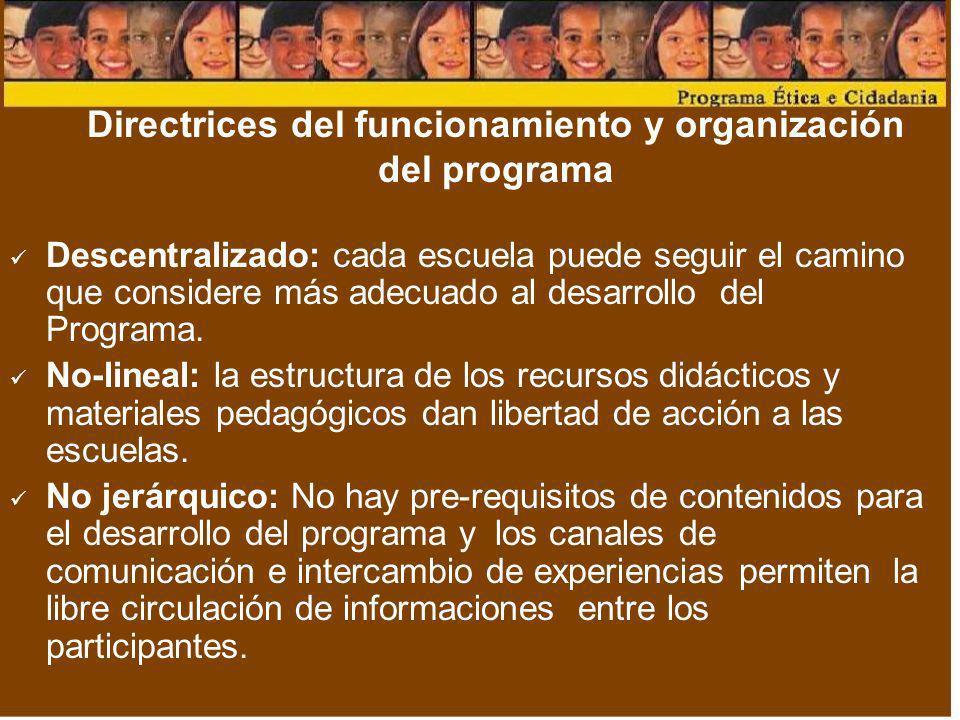 Directrices del funcionamiento y organización del programa