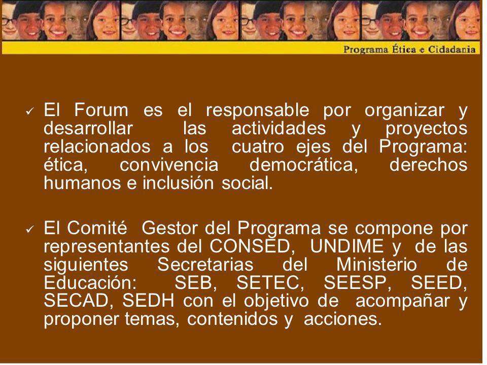 El Forum es el responsable por organizar y desarrollar las actividades y proyectos relacionados a los cuatro ejes del Programa: ética, convivencia democrática, derechos humanos e inclusión social.