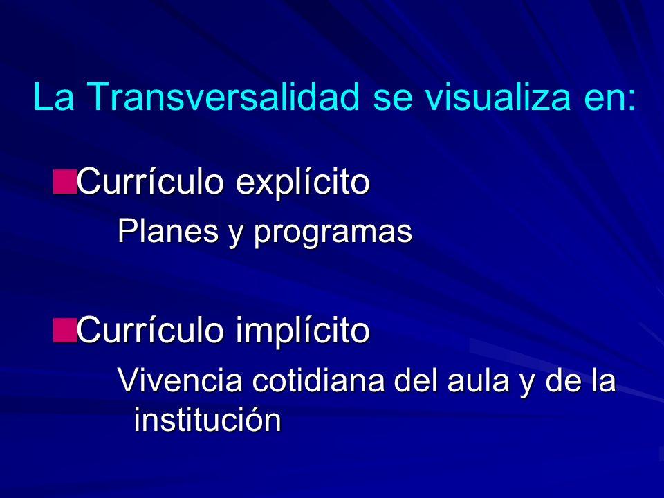 La Transversalidad se visualiza en: