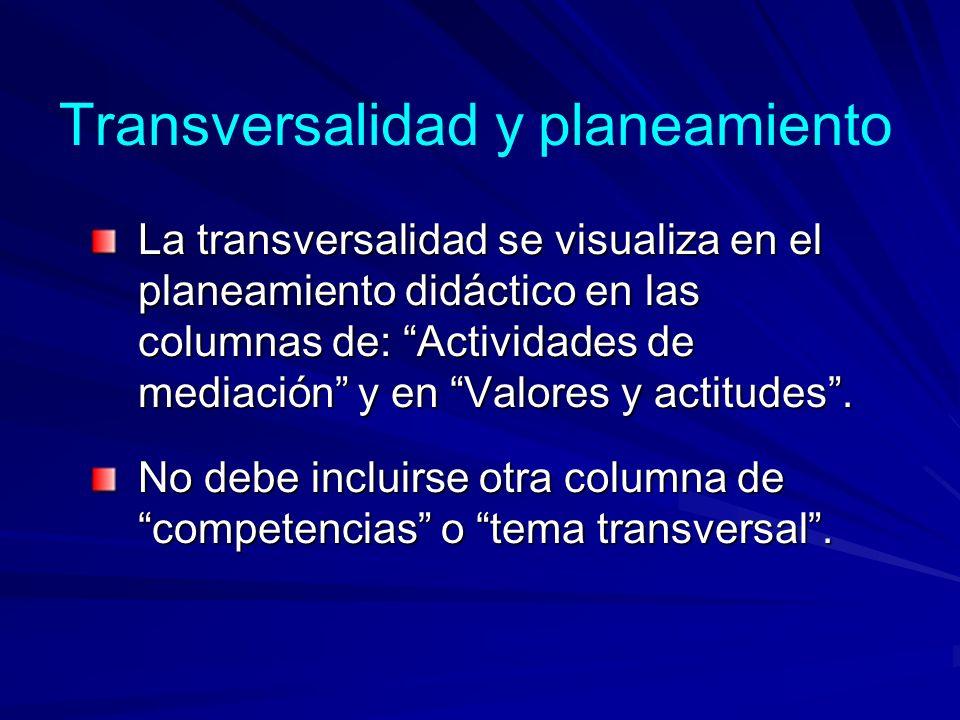 Transversalidad y planeamiento
