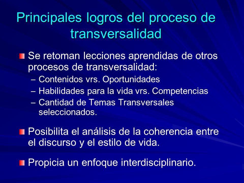 Principales logros del proceso de transversalidad