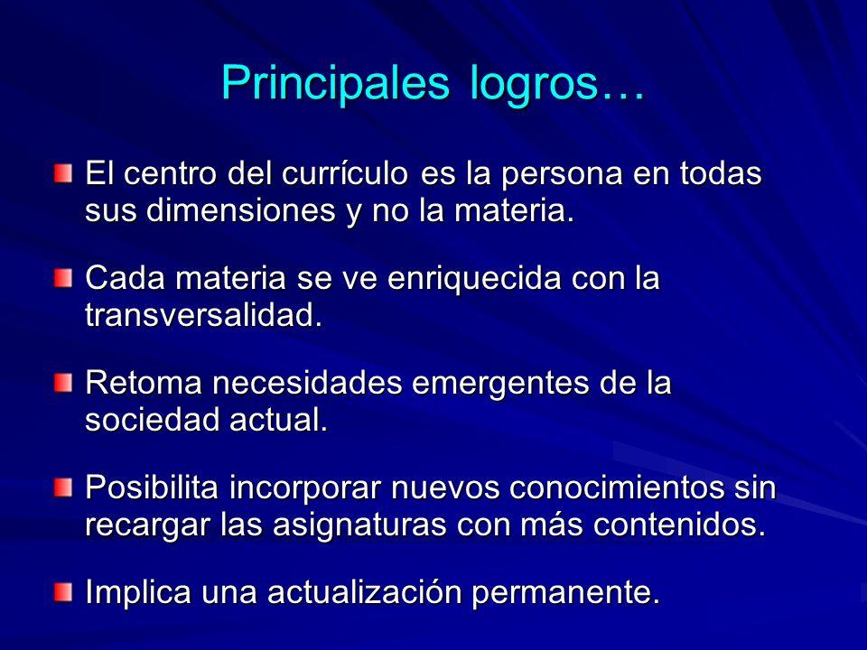 Principales logros… El centro del currículo es la persona en todas sus dimensiones y no la materia.