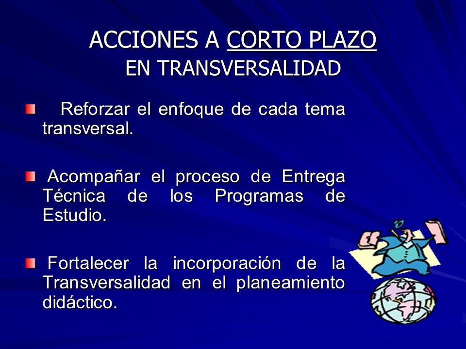 ACCIONES A CORTO PLAZO EN TRANSVERSALIDAD