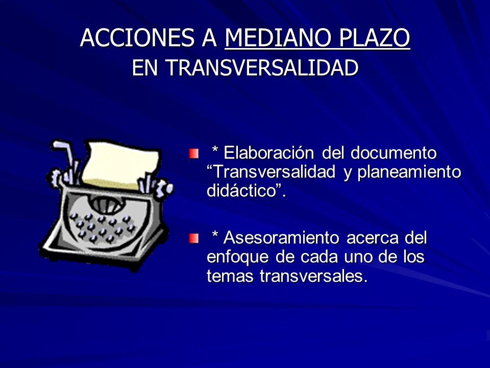 ACCIONES A MEDIANO PLAZO EN TRANSVERSALIDAD