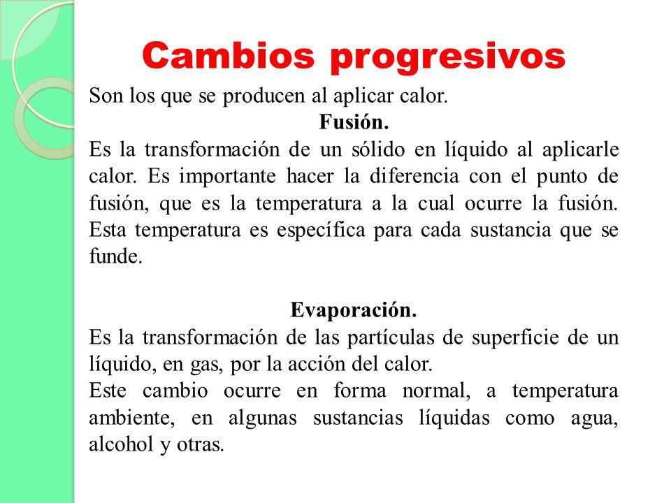 Cambios progresivos Son los que se producen al aplicar calor.