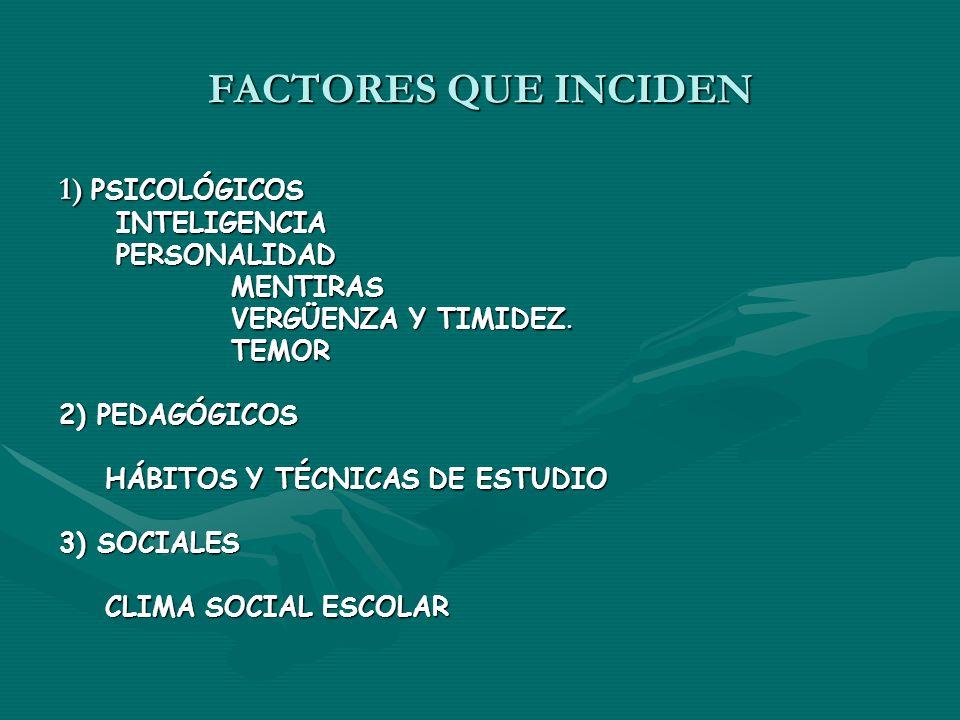 FACTORES QUE INCIDEN 1) PSICOLÓGICOS INTELIGENCIA PERSONALIDAD