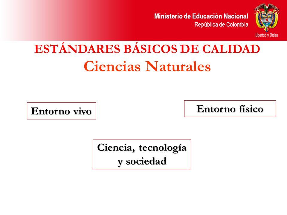 ESTÁNDARES BÁSICOS DE CALIDAD Ciencias Naturales