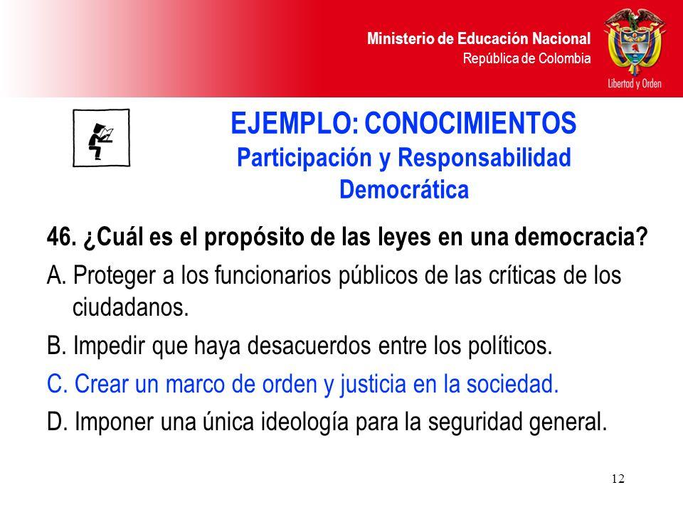 EJEMPLO: CONOCIMIENTOS Participación y Responsabilidad Democrática