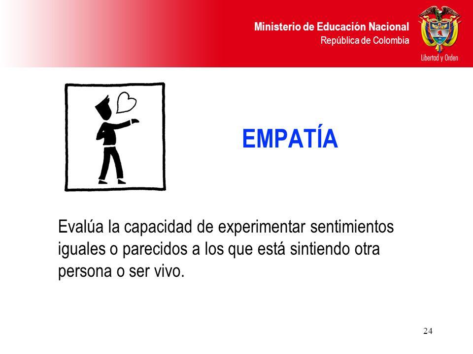 EMPATÍA Evalúa la capacidad de experimentar sentimientos iguales o parecidos a los que está sintiendo otra persona o ser vivo.