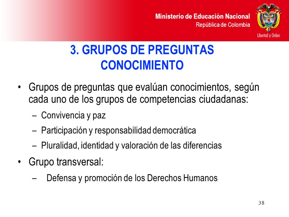 3. GRUPOS DE PREGUNTAS CONOCIMIENTO
