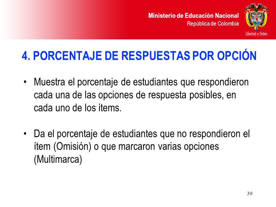 4. PORCENTAJE DE RESPUESTAS POR OPCIÓN
