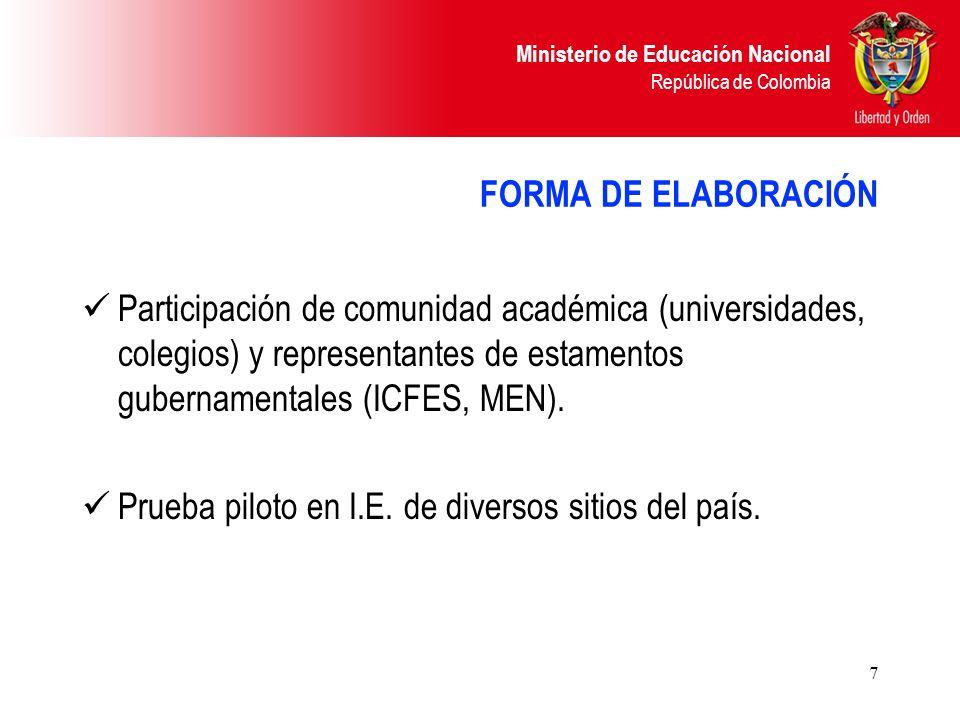 FORMA DE ELABORACIÓN Participación de comunidad académica (universidades, colegios) y representantes de estamentos gubernamentales (ICFES, MEN).