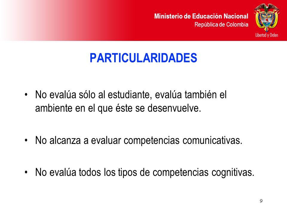 PARTICULARIDADES No evalúa sólo al estudiante, evalúa también el ambiente en el que éste se desenvuelve.
