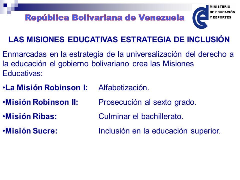 LAS MISIONES EDUCATIVAS ESTRATEGIA DE INCLUSIÓN