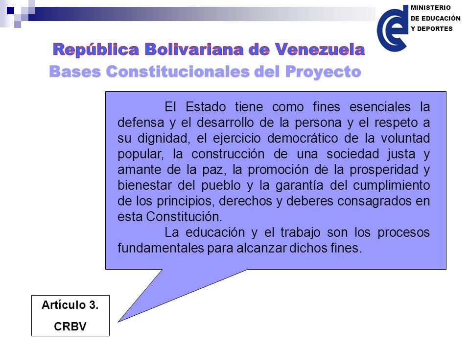 MINISTERIO DE EDUCACIÓN. Y DEPORTES. República Bolivariana de Venezuela. Bases Constitucionales del Proyecto.