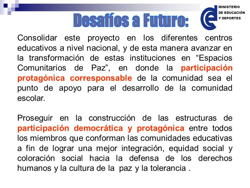 MINISTERIO DE EDUCACIÓN. Y DEPORTES. Desafíos a Futuro: