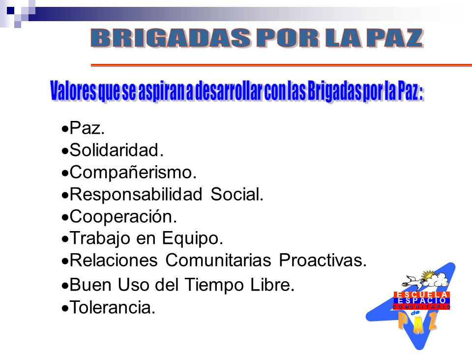 Valores que se aspiran a desarrollar con las Brigadas por la Paz :