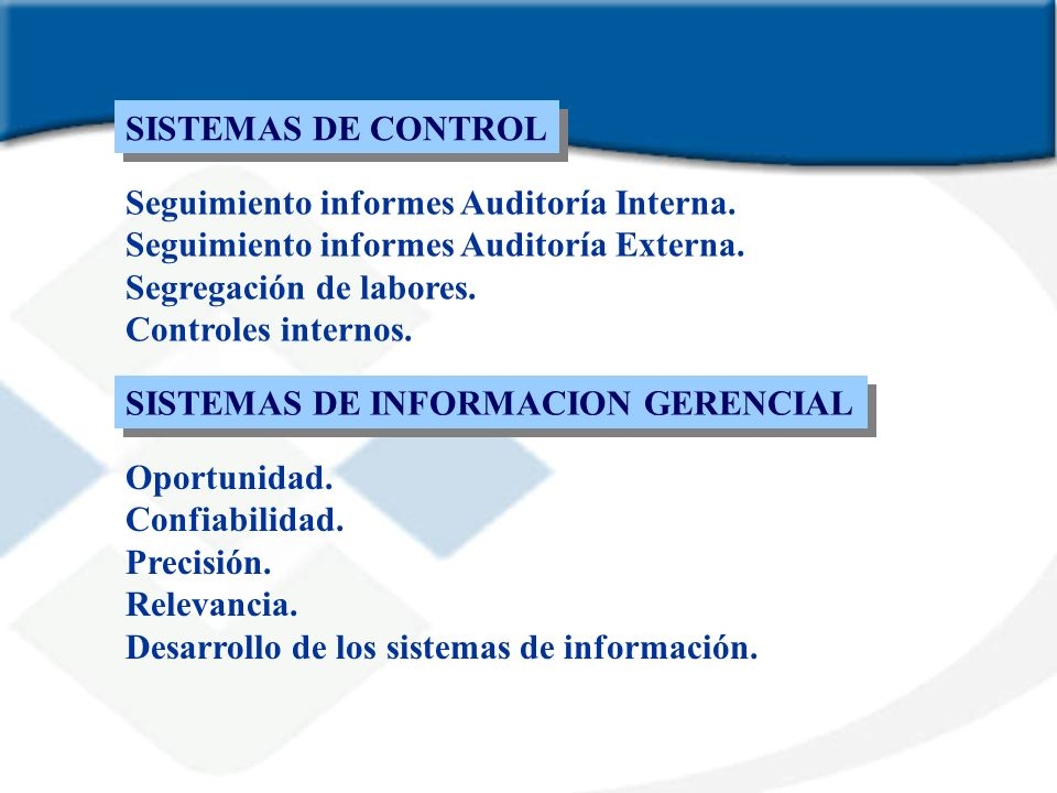 SISTEMAS DE CONTROLSeguimiento informes Auditoría Interna. Seguimiento informes Auditoría Externa. Segregación de labores.