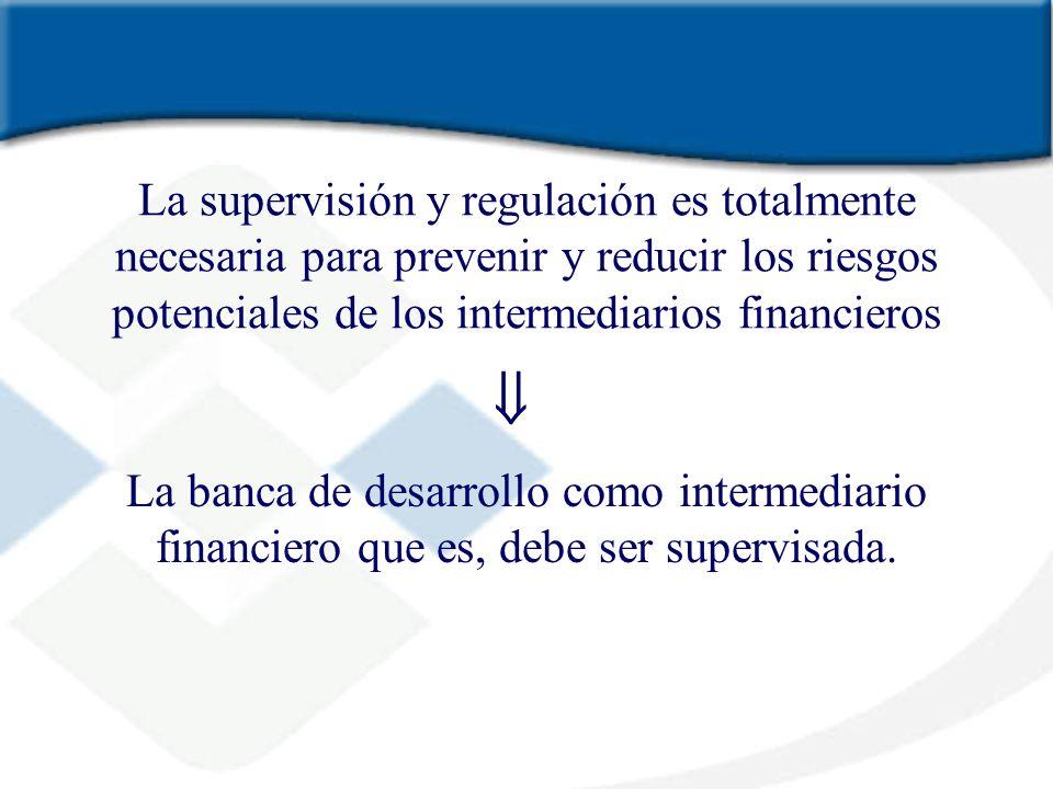 La supervisión y regulación es totalmente necesaria para prevenir y reducir los riesgos potenciales de los intermediarios financieros