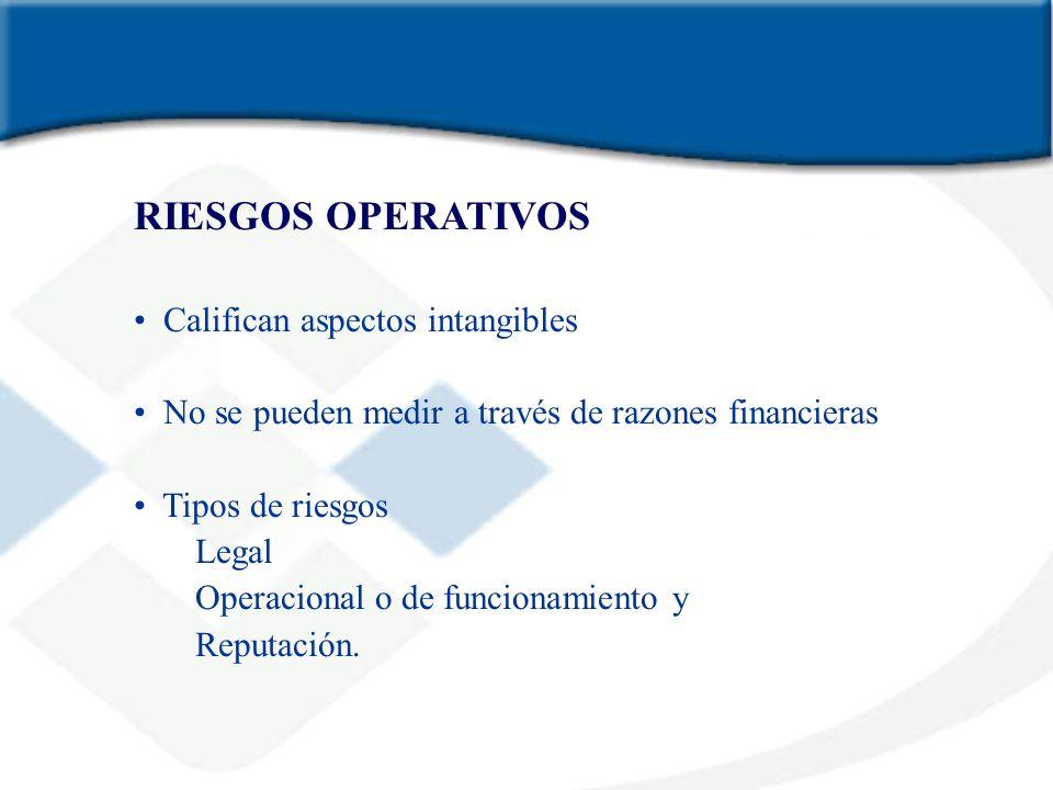 RIESGOS OPERATIVOS Califican aspectos intangibles