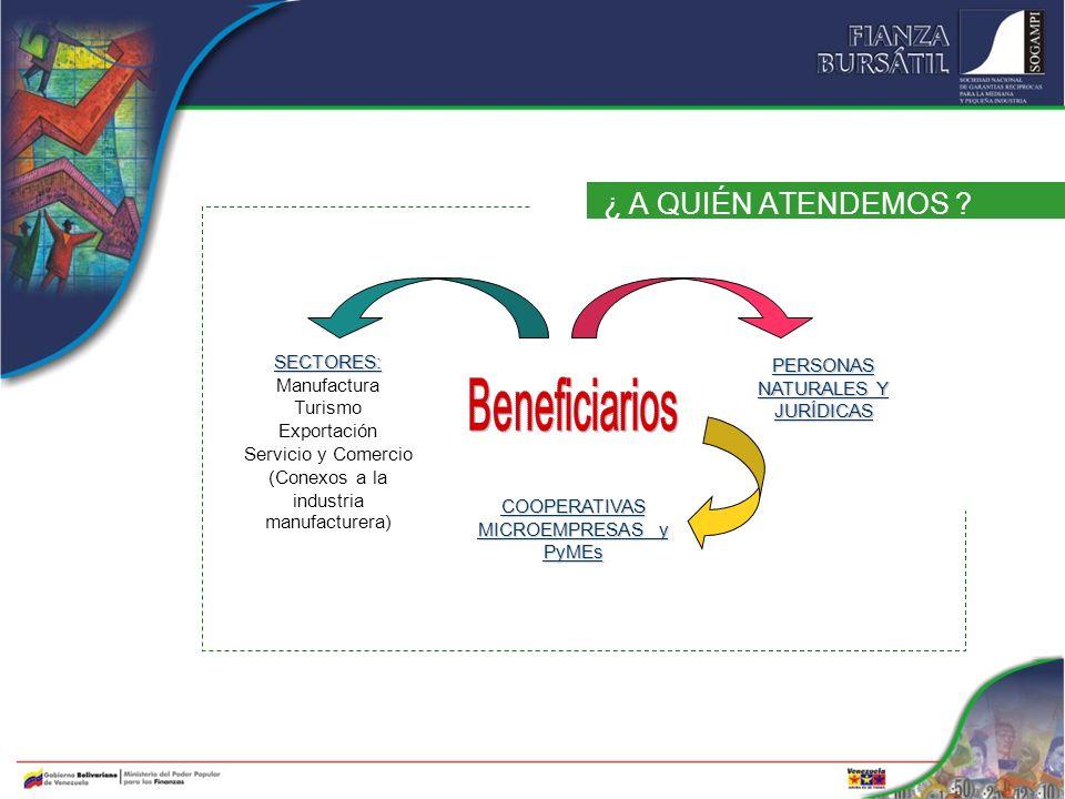 Beneficiarios ¿ A QUIÉN ATENDEMOS SECTORES: