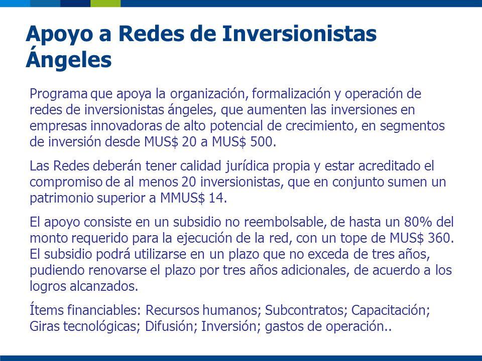 Apoyo a Redes de Inversionistas Ángeles