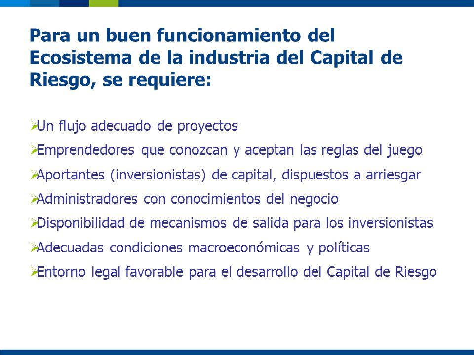 Para un buen funcionamiento del Ecosistema de la industria del Capital de Riesgo, se requiere: