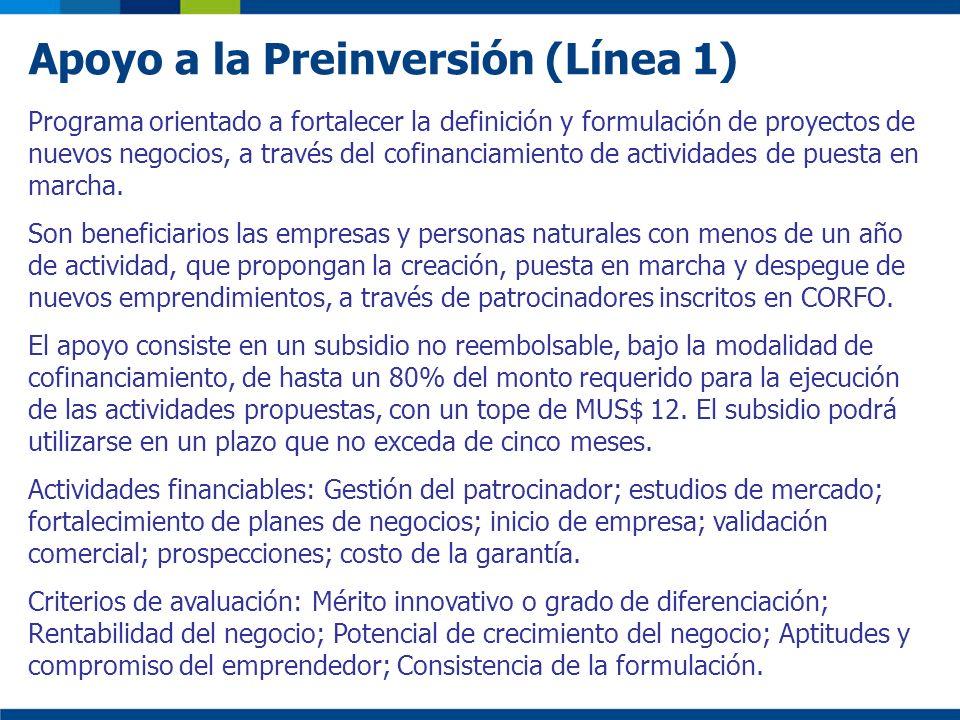 Apoyo a la Preinversión (Línea 1)