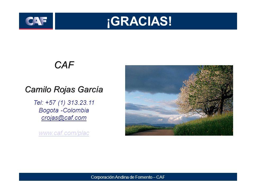 ¡GRACIAS! CAF Camilo Rojas García Tel: +57 (1) 313.23.11