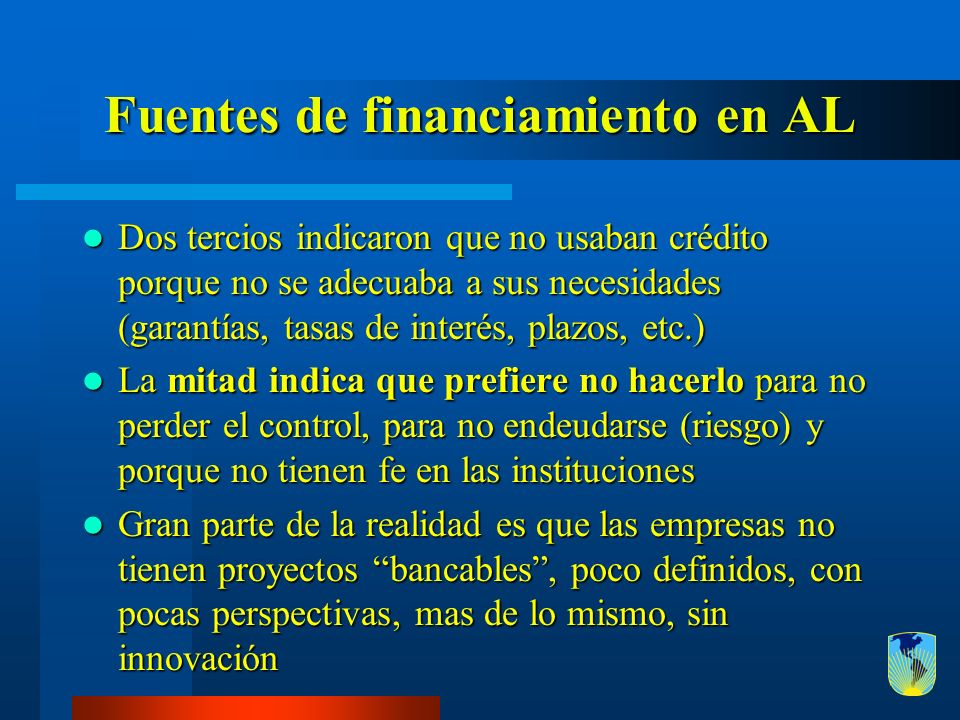 Fuentes de financiamiento en AL