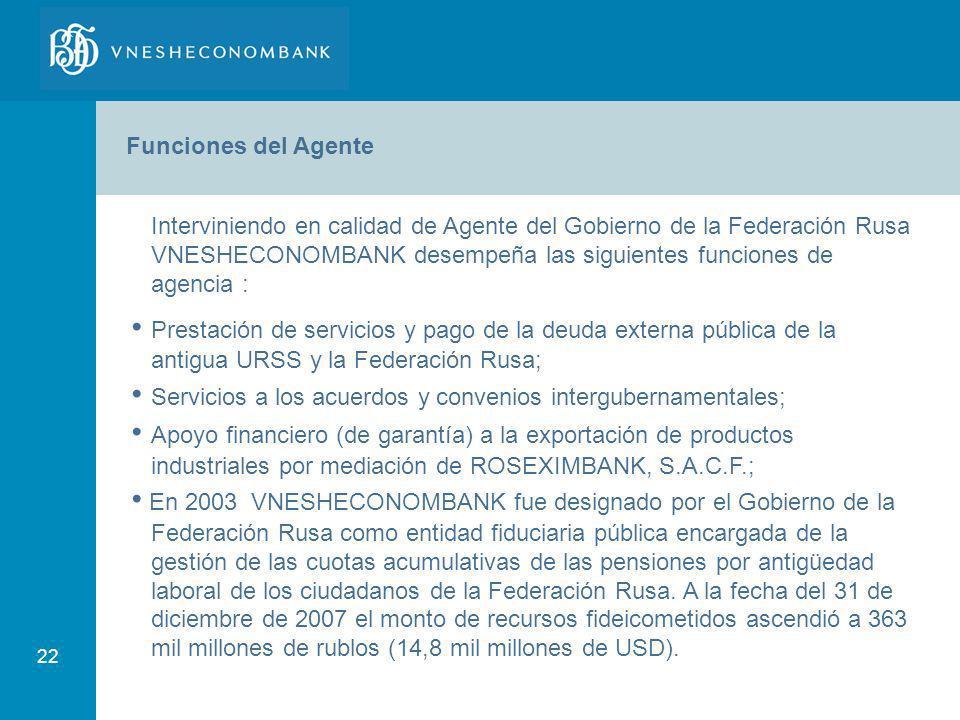 • Servicios a los acuerdos y convenios intergubernamentales;