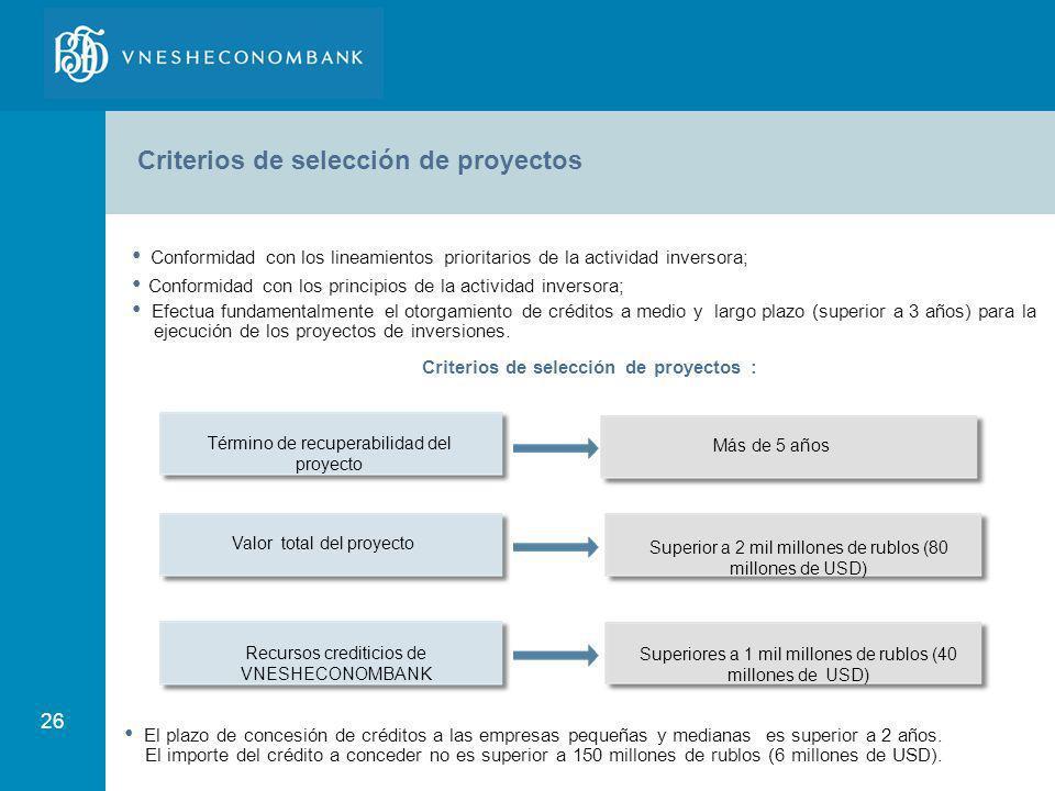 Criterios de selección de proyectos