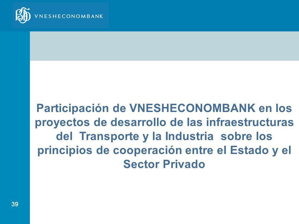Participación de VNESHECONOMBANK en los proyectos de desarrollo de las infraestructuras del Transporte y la Industria sobre los principios de cooperación entre el Estado y el Sector Privado