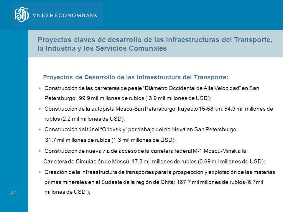 Proyectos claves de desarrollo de las infraestructuras del Transporte, la Industria y los Servicios Comunales