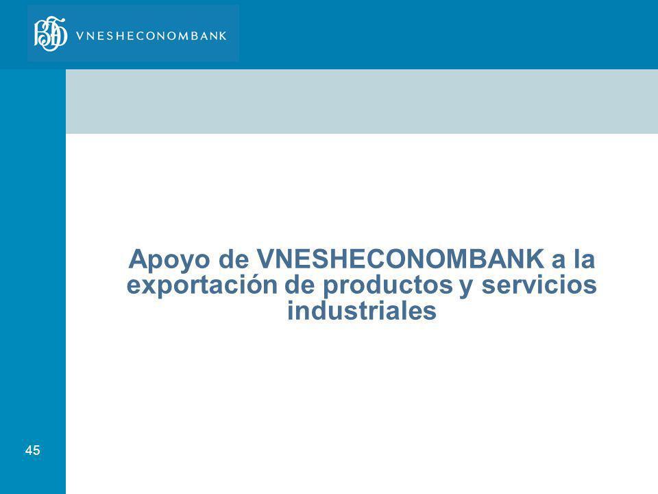 Apoyo de VNESHECONOMBANK a la exportación de productos y servicios industriales