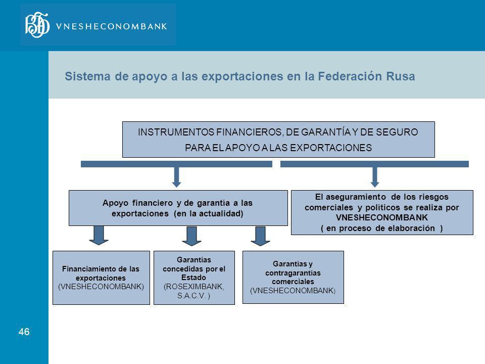Sistema de apoyo a las exportaciones en la Federación Rusa