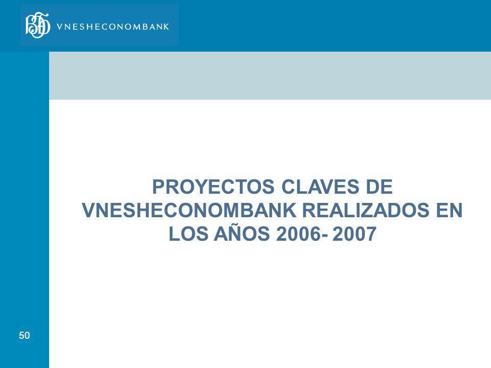 PROYECTOS CLAVES DE VNESHECONOMBANK REALIZADOS EN LOS AÑOS 2006- 2007